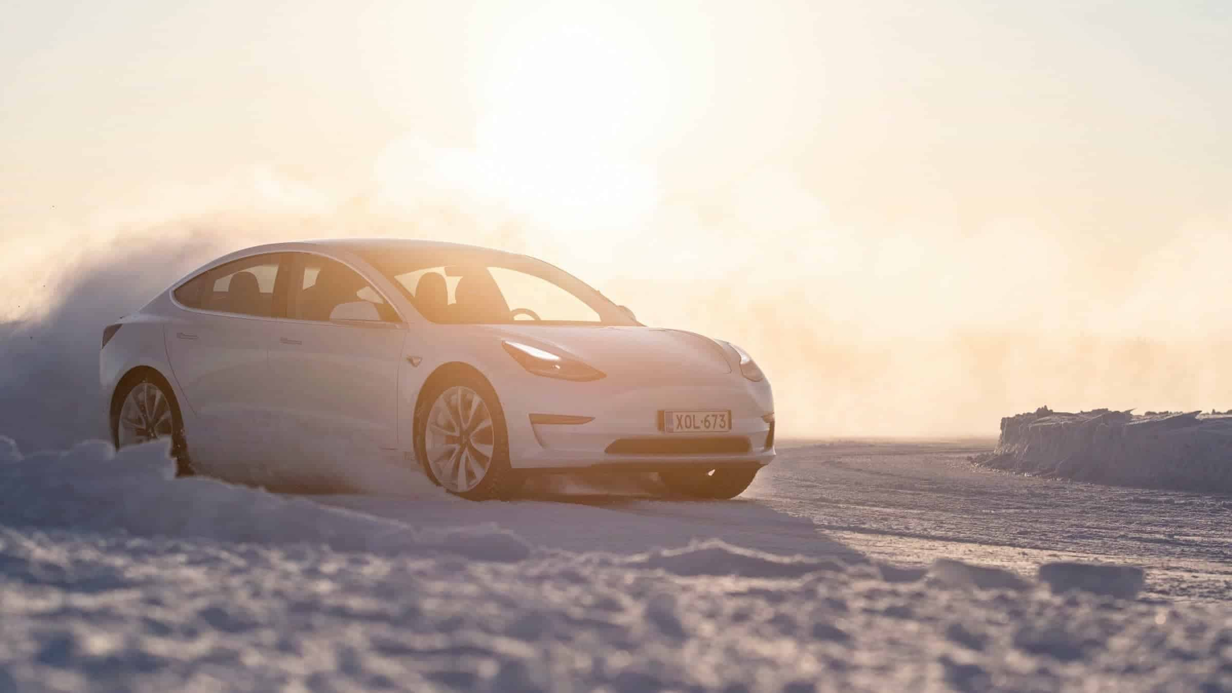 Tesla Model 3 Drifting on Snow in Kemi Finland