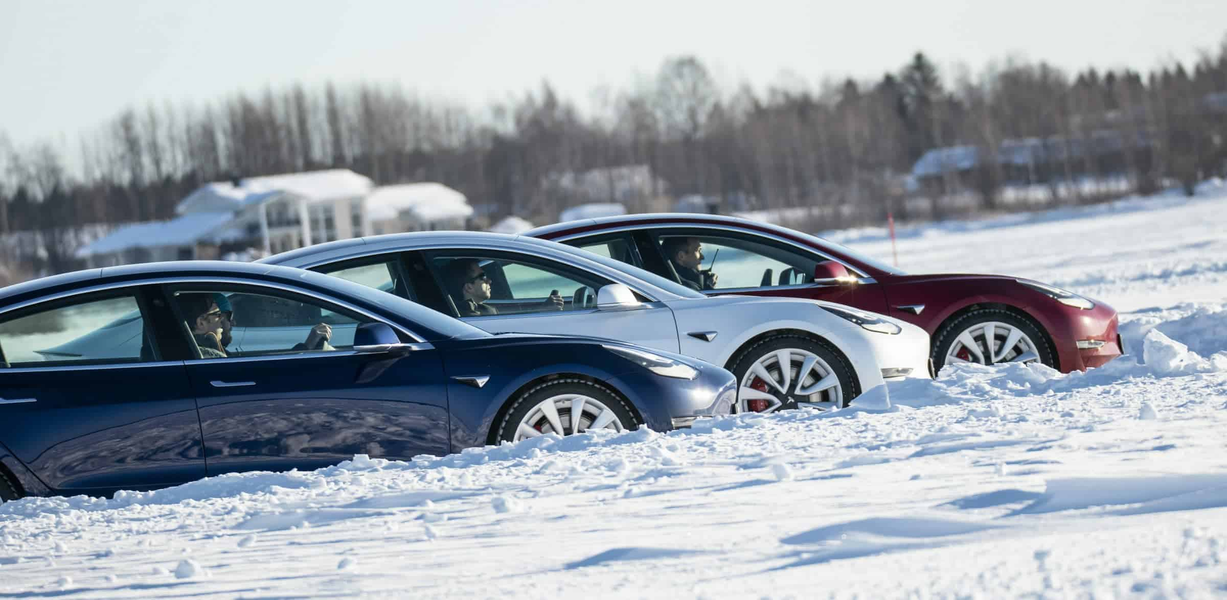 Tesla Model 3 Snow Drive Three Cars