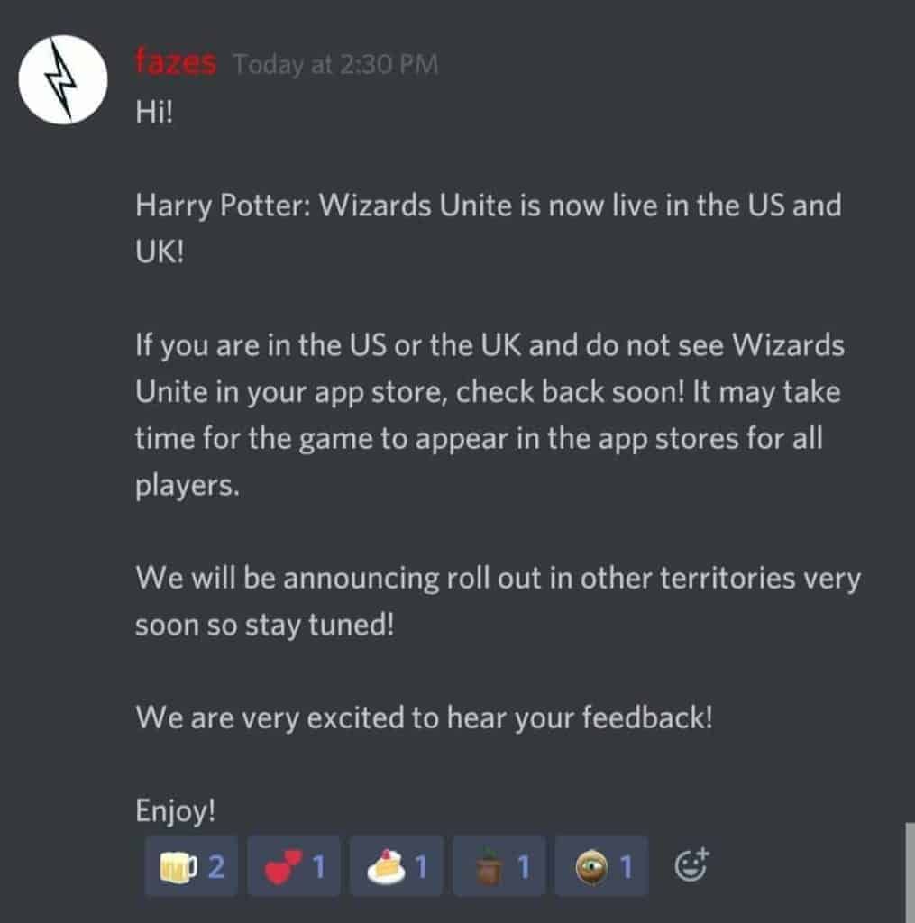 Wizards Unite Niantic Dev