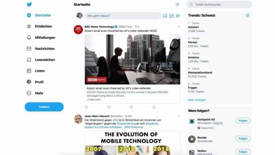 Twitter-Redesign-Startseite